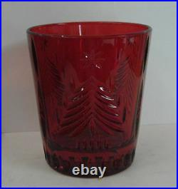 Mikasa Crystal CHRISTMAS TREE RED RUBY Double Old Fashions SET/4 Mint in Box