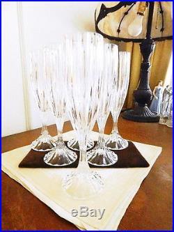 Mikasa Crystal PARK LANE Champagne Flutes Set / 6 Stem Goblet Glass NICE