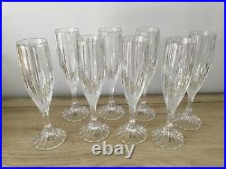 Mikasa Park Lane Set of EIGHT 8 5/8 Crystal Champagne Flutes Glasses