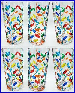 Milano Highball Glasses Set Of Six Hand Painted Venetian Glassware Set