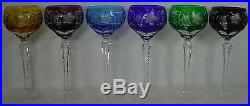 NACHTMANN crystal TRAUBE pattern Set of Six (6) TALL Hock Wine Goblets 8-1/4