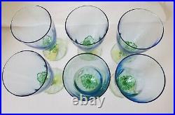 NEW Set 6 Bormioli Rocco BAHIA PATTERN Glass WATER GOBLETS Blue & Green stem