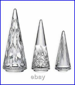 NEW Waterford Crystal CHRISTMAS TREES (Set of 3) Figurines Sculptures NEW IN BOX