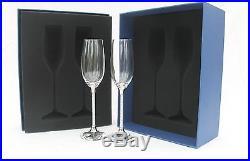 New Set of Swarovski Crystal Filled Stem Champagne Flutes & Wine Bottle Stopper