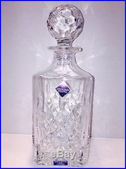 RARE Edinburgh Crystal Brodick Pattern Decanter Liquor Set 4 Glasses Scotland