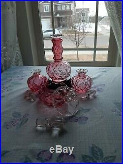 RARE! Vintage Fenton Vanity Set, Cranberry Crystal Powder, 3 Perfume Bottles, RARE