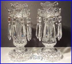 RARE Vintage WATERFORD CRYSTAL C1 Set of 2 Candelabra Candle Stick Holders 10