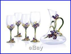 RORO Luxury Enameled 24K Gold Wine Decanter Set, Bohemian Crystal + Swarovski