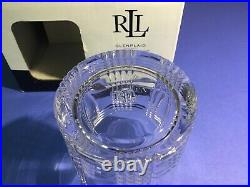 Ralph Lauren Glen Plaid Set Of 4 Crystal Double Old Fashioned Glasses New