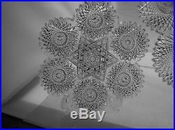 Rare 13 Piece Cut Glass Ice Cream Set In Star By Meriden Antique Crystal