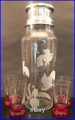 Rare Art Deco Etched Crystal Cocktail Shaker Set By Duncan Miller Ca 1936