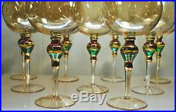 Rare Gorgeous Set Of (9) Gold Murano Hand Blown Balloon Style Wine Glasses Italy