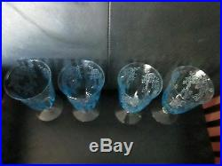 Rare Set 4 Iced Tea Fostoria Blue Meadow Rose Crystal Footed Tumbler Glasses