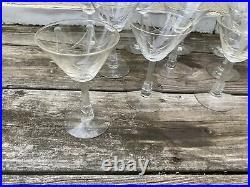 Rare Signed Libbey Set 11 Crystal Martini Glass Skyscraper Art Deco Nash Etched