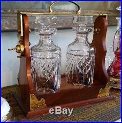 Rare WATERFORD Crystal Oak and Brass Tantalus Liqour Decanter Set