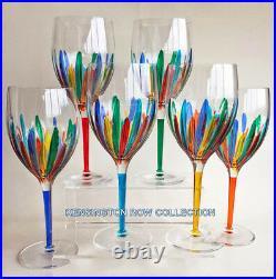 Ravenna Oversized Wine Glasses Set Of Six Hand Painted Venetian Glassware