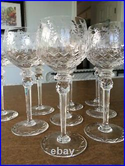 Rogaska Gallia Hock Wine Glasses-Set of 9