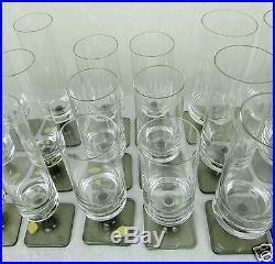 Rosenthal Crystal Glass Set 36 Berlin Linear Smoke Goblet Champagne Georg Jensen