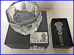 Rosenthal Lumiere Crystal Versace Medusa Wine Bottle Coaster and Stopper Set