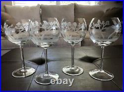 Rowland Ward Etched Crystal Big Game Safari Balloon Wine Glasses (Set of 4)