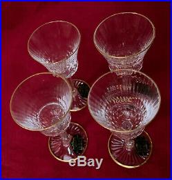 SAINT LOUIS CRYSTAL CORDIAL GLASSES APOLLO withGOLD TRIM SET OF FOUR NEW IN BOX