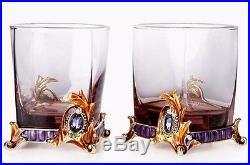 SET OF 2 RoRo Enameled Whiskey Rocks Glasses, Bohemian & Swarovski Crystal Art