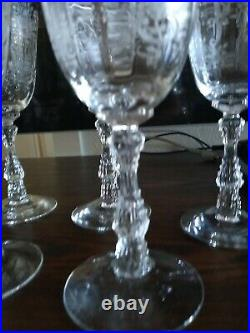 SET OF 6 Fostoria Etched Crystal Meadow Rose 7 5/8 Water Wine Goblet Glasses