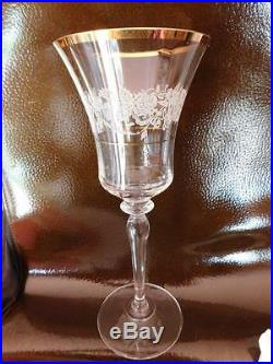 SET OF 8 MIKASA ANTIQUE LACE CRYSTAL 9 WATER WINE GOBLET GLASSES WithGOLD TRIM