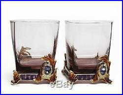 SET of 2 RORO Luxury Enameled 9.5 Oz Rocks glasses, Bohemian Crystal + Swarovski