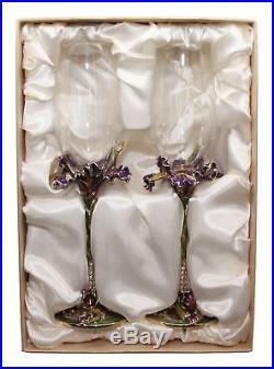 SET of 2 RORO Luxury Enameled Champagne Flutes, Bohemian Crystal + Swarovski