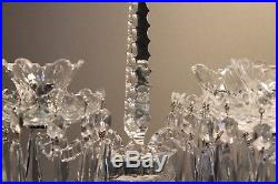 SET of 2 Waterford CRYSTAL DOUBLE ARM CANDELABRAS with Bobeches & Prisms Mint