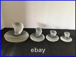 SET of 4 VIKING EPIC GLASS CRYSTAL SATIN FROSTED MUSHROOM JUMBO LARGE MED SMALL