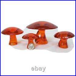 SET of 4 VIKING EPIC ORANGE GLASS CRYSTAL MUSHROOM JUMBO LARGE MED SMALL