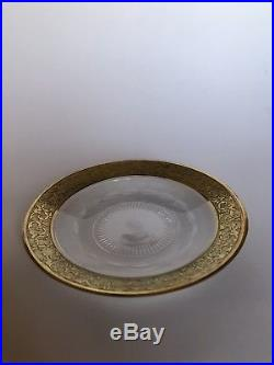 SPLENDID GOLD by MOSER Crystal Finger Bowl & Underplate Set RARE Glass