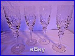 STUNNING! Rogaska Gallia Champagne Flutes Set of Four Crystal Wine Glasses