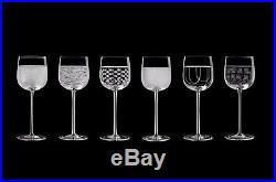 Salviati NEW Crystal Venezia Italian Wine Glasses Set of 6 Assorted Patterns NIB
