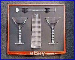 Salviati NEW IN BOX Bassorilievi Crystal Cocktail Martini Set