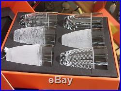 Salviati Venezia Fine Crystal Tall Drink Glasses Assorted Set of 6 NEW Box Italy