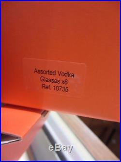 Salviati Venezia NEW Vodka Glasses Set of 6 Patterns Fine Crystal in Box Italy