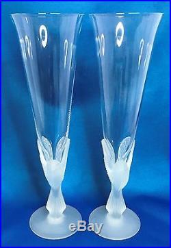 Sasaki Crystal Wings Champagne Flute Set of 2 Etuso Yamagishi Frosted Birds