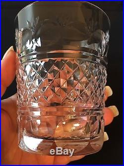Scottish Crystal Old Fashion Tumblers Set Of Fifteen Glasses Signed