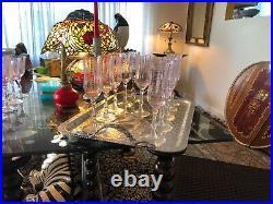 Set 11 Lenox Navarre Pink Champagne Flutes Blown Etched Glass Crystal 1 w Label
