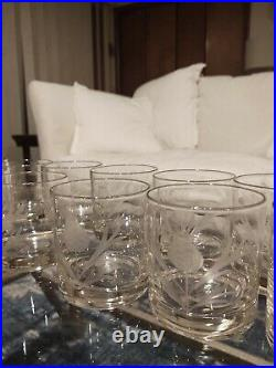 Set 12 Vintage Cut Crystal Glasses Hi-ball, Water, Juice Flower Motif