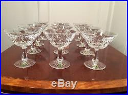 Set 12 Vintage WATERFORD CRYSTAL Kenmare Champagne Sherbet Glasses with Stickers