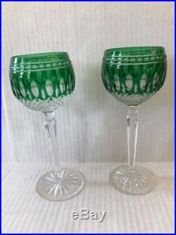 Set 2 Waterford Crystal Clarendon Wine Hock Glasses Emerald Green NEW Seahorse
