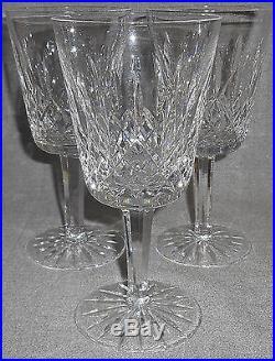 Set (3) Waterford Crystal LISMORE PATTERN 8 oz Water Goblets