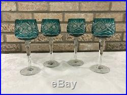 Set 4 Aqua Cut to Clear Bohemian Crystal 8 1/4 Wine Glasses Goblets