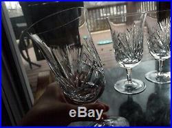 Set (4) Iced Tea Goblets Glasses, GORHAM Cherrywood clear cut crystal 10 oz