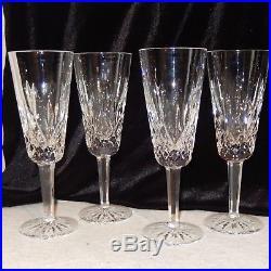 Set 4 Signed Vintage Waterford Crystal LISMORE Champagne Flutes Stemware Glass
