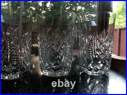 Set (5) Flat Tumblers 10 oz Glasses, 4-5/8 Cut Crystal signed Waterford CLARE